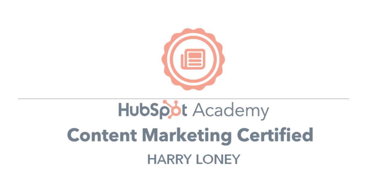 Hubspot Academy Content Marketing Certification